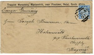 Natal 1905 POA 51 (Trappist Monastery) cancel on cover to Germany