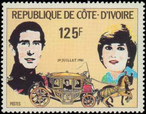 1981 Ivory Coast #593-595, Complete Set(3), Never Hinged
