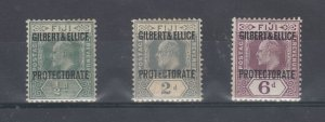 Gilbert & Ellice KEVII 1911 O/P Collection Of 3 SG1/3/6 MH J7613