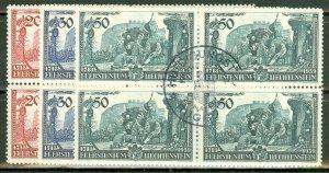 Liechtenstein 154-6 used blocks of 4 (CTO, first day cancels) CV $33+