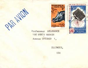 Upper Volta 50F 6th World Meteorological Day and 5F Wart Hog c1967 Airmail to...