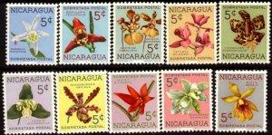 10 Various Orchids, Nicaragua stamp SC#RA66-RA75 Mint set