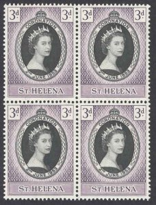 St. Helena Sc# 139 MNH Blocks/4 1953 3p Coronation Issue
