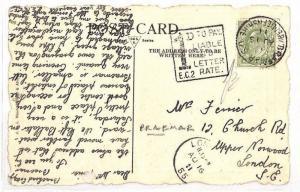GB SCOTLAND Aberdeenshire *Braemar* Postcard 1d Dues Letter rate 1911 AS139