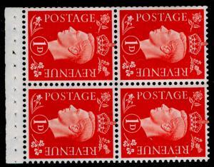 SG463ab, 1d scarlet, M MINT. Cat £100. BOOKLET PANE OF 4. WMK SIDE.