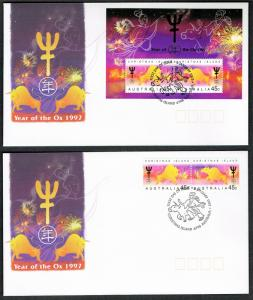 Christmas Is. Chinese New Year 'Year of the Ox' 2v+MS FDC SG#434-MS436