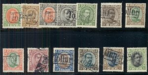 ICELAND #109//187 Chr X Issues with TOLLUR (Revenue) cancels, 13 diff