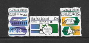 NORFOLK ISLAND - #437-9-SYDPEX 88 MNH