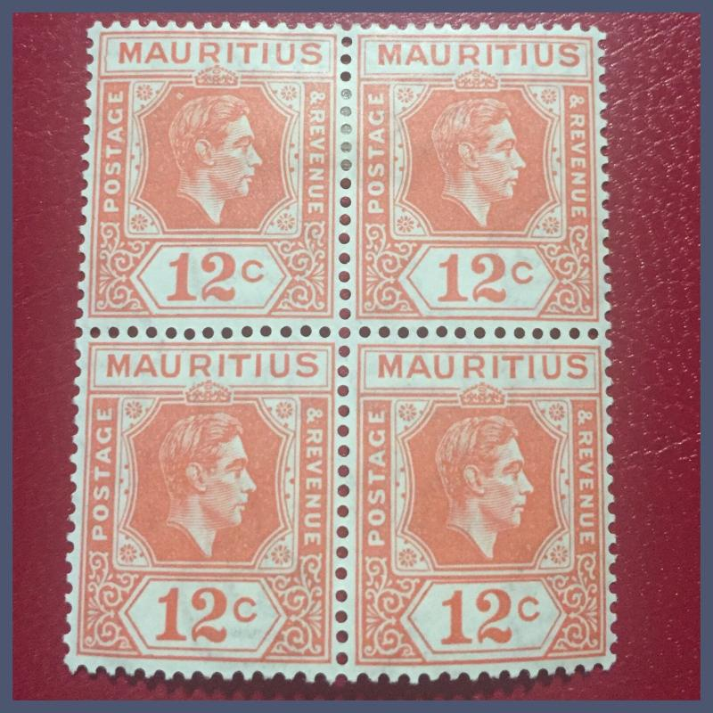 Mauritius - KGVI - 1942 Block Of 4: 12 Cents Salmon Pink Pristine Mint H / MNH
