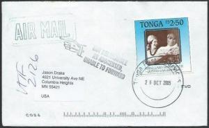 TONGA 2005 airmail cover to USA - returned to sender............51912