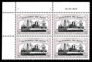 PCBstamps    US #3192 PB $1.28(4x32c)Remember/Maine, MNH, (PB-1)