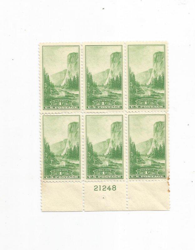 US SCOTT# 740, PLATE BLOCK OF 6, MNH, OG