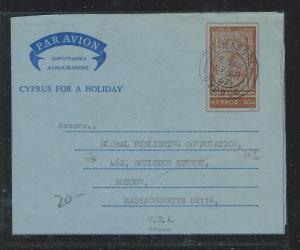 CYPRUS (P2912B) 1967 30 AEROGRAMME TO USA