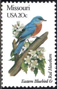 United States 1977A - Mint-NH - 20c Missouri / Eastern Bluebird (1982)