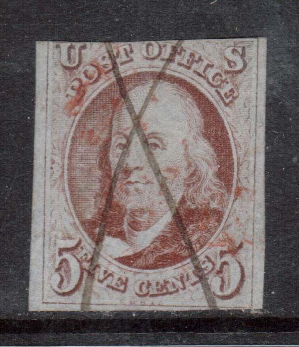 USA #1d Used With Manuscript & Red Cancel **With Certificate**