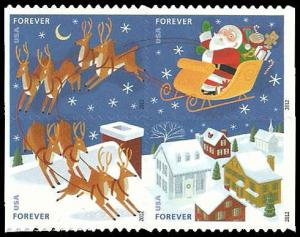 PCBstamps    US #4712/4715a Bk Block $1.80(4x{45c})Santa & Sleigh, MNH, (8)