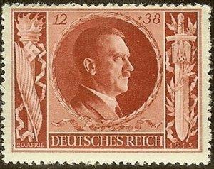 Stamp Germany Mi 847 Sc B234 1943 WW2 Fascism Hitler 54th Birthday MNH