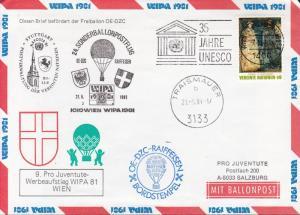Austria 1981 Cover Vienna International Philatelic Expo. WIPA Balloon Flight