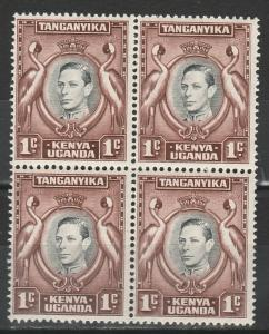 KENYA UGANDA & TANGANYIKA 1938 KGVI CRANE BIRD ERROR TADPOLE FLAW MNH ** BLOCK