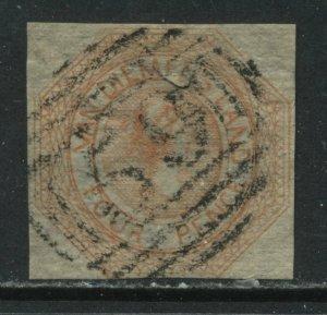 Tasmania 1853 4d orange QV used
