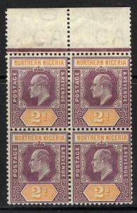 NORTHERN NIGERIA SG22 1905 2d DULL PURPLE & YELLOW MTD MINT BLOCK OF 4