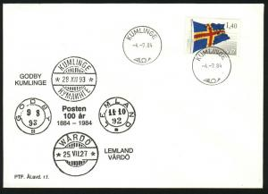 Aland. Cover Cachet 1984. Post 100 year 1884-1984