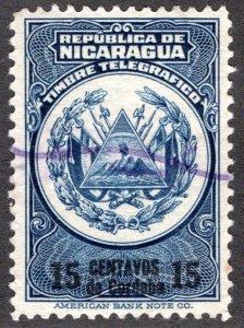 Nicaragua, RH189, H190, Type 60, 15c dark blue and black- Telegraph Revenue