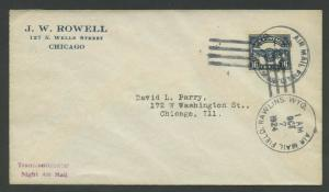 #C5 TIED BY FLIGHT COVER OCT 7,1924 RAWLINS, WY TO CHICAGO (VF+) BU8872