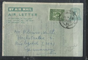 CEYLON (P0908B) 1953   KGVI  35C AEROGRAMME UPRATED QEII CORONATION TO GERMANY