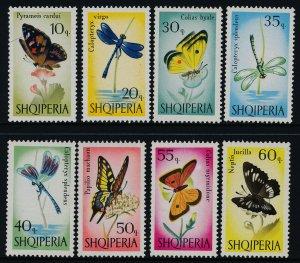 Albania 922-9 MNH Butterflies, Flowers, Dragonflies
