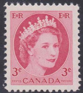 Canada - #339iii - 1954 3c QE Wilding Hibrite Single VF-NH