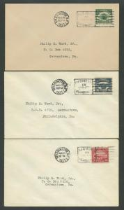#C4-C6 FDCs AUG 1923 PHILIP WARD CACHET XF GEM SET CV $1,900 WLM8126