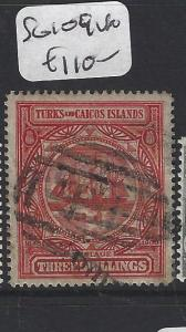 TURKS AND CAICOS (P1805BB)  SHIP  3/-   TI CANCEL   SG 109   VFU