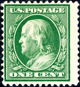 US 374 – 1910 1c Franklin perf 12 green. MLH OG Fine