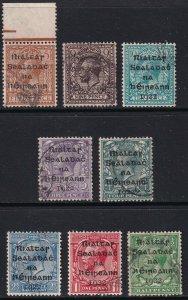 Sc# 1 / 8 Ireland 1922 King George V KGV complete overprint set Used CV $144.20