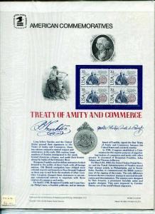 US Scott #2036 Treaty of Amity and Commerce USPS Commemorative Stamp Panel.