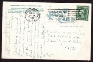 $Florida Machine Cancel Cover, Jacksonville, 10/14/1922, earliest recorded imp.