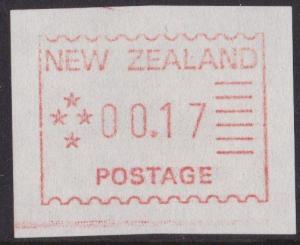 NEW ZEALAND 1984 Frama machine Trial - 17c MNH..............................5104