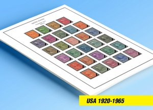 COLOR PRINTED U.S.A. 1920-1965 STAMP ALBUM PAGES (66 illustrated pages)