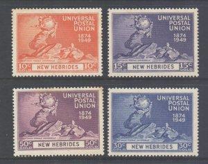 Vanuatu New Hebrides Scott 62/65 - SG64/67, 1949 UPU Set MH*