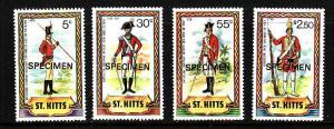 St Kitts-Sc#67//74-unused NH 1/2 Specimen set-Military Uniforms-1981-83-