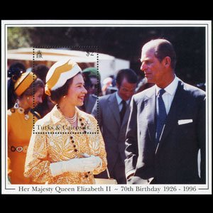 TURKS & CAICOS 1996 - Scott# 1192 S/S Queen B/Day NH