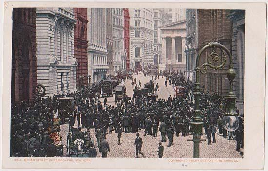 USA - Actual Photo Post Card About 1910 - Broad Street Curb Brokers