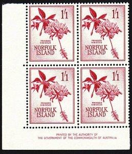 NORFOLK IS 1960-62 1/1d Hibiscus imprint block of 4 MNH.....................9129