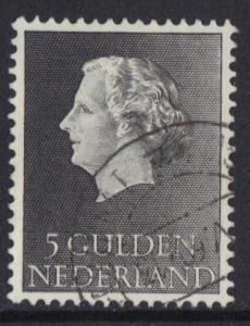 Netherlands 1954  used Juliana 5 gld  #
