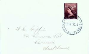 Tokelau Islands 3d QEII Coronation 1953 Fakaofo, Tokelau Islands to Auckland,...