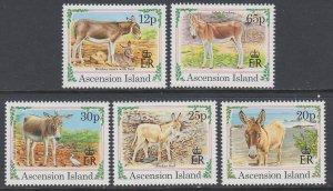 Ascension 599-603 Donkeys MNH VF