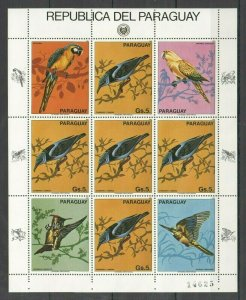 EC121 1983 PARAGUAY FAUNA BIRDS MICHEL 30 EURO 1KB MNH