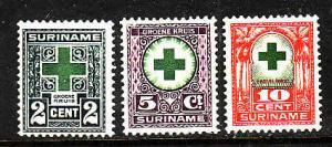 Suriname-Sc#B1-3-unused hinged semi-postal set-Green Cross Society-1927-