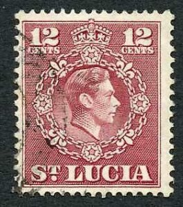 St Lucia SG153a 12c Claret Perf 14.5 x 14 Very Fine Used Cat 550 pounds RARE